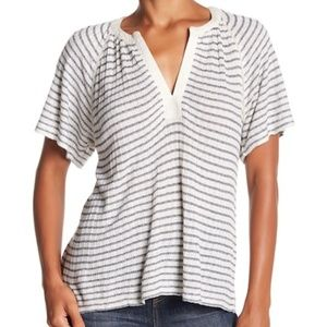 Lucky Brand Drop Needle Cutout Stripe Top Blue NEW